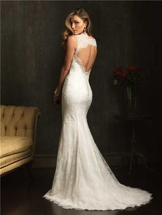 lace wedding gown with open back | ... Classic Slim Mermaid V Neck Lace Beaded Wedding Dress With Open Back