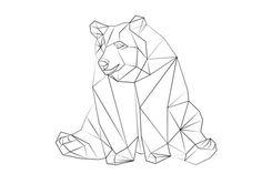 Resultado de imagem para geometric animals black and white Geometric Bear, Geometric Drawing, Geometric Designs, Geometric Shapes, Design Origami, Animals Black And White, Animal Silhouette, Illustration, Bear Art