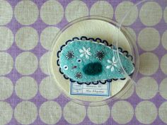 Sleeping Giant Paramecium Brooch turquoise by hine on Etsy, $42.00