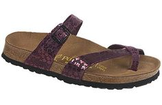 Papillio Tabora Flower Glitter Bordeaux Leather You'll love how this classy thong looks on your feet. The soft, non-binding fit, plus security and top-strap adjustability, make it a good candidate for your favorite summer sandal. #birkenstock #birkenstockexpress.com  $109