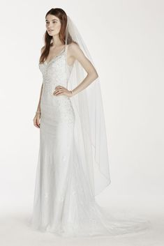 Beaded Edge Walking Veil - White