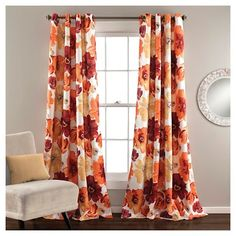 Lush Decor Leah Floral Room Darkening Window Panel Curtain Set for Living, Dining, Bedroom (Pair), L, Red and Orange Grommet Curtains, Blackout Curtains, Drapes Curtains, Valances, Drapery, Elegant Curtains, Outdoor Curtains, Curtains Living, Bedroom Curtains