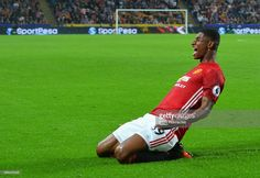 Marcus Rashford of Manchester United celebrates scoring his sides first goal during the Premier League match between Hull City and Manchester United at KCOM Stadium on August 27, 2016 in Hull, England. Marcus Rashford, Hull City, Toronto Fc, Manchester United Football, England Football, Premier League Matches, Southampton, Sports Stars, Football Team