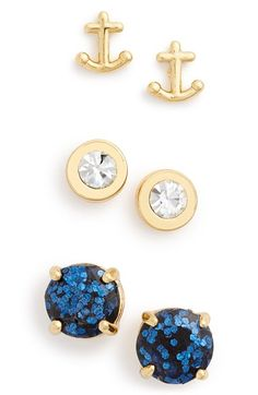 kate spade new york 'navy glitter' anchor & round stud earrings (Set of 3) available at #Nordstrom