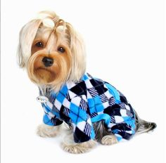 Dog Pajamas - Klippo Argyle Fleece Turtleneck in Black & Blue