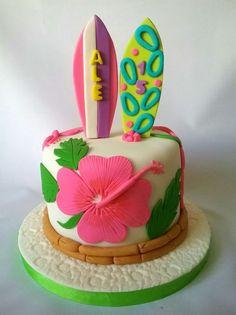 Hawaii Birthday Cake, Barbie Birthday Party, Birthday Parties, Fondant, Luau Cakes, Luau Food, Different Cakes, Luau Party, Fancy Cakes
