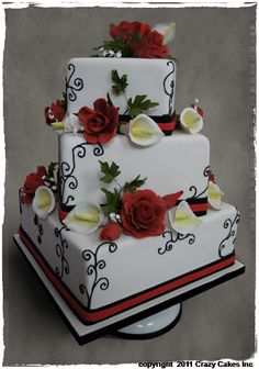 Red & Black square cake with roses and calla lilies. One of mine.  www.crazycakes.com