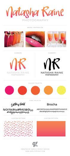 Ombre Pre-Made Logo | Pink & Orange Citrus Sunset | Bright Colourful | Feminine Logo | Photography Logo | Pretty Logo | Submark Style Guide Custom Patterns | Brand Identity