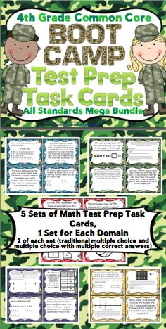 4th Grade Math Test Prep Task Cards (Boot Camp Theme): Your students will have a blast preparing for testing! This boot camp themed Common Core aligned task card pack includes 5 sets of 24 task cards (one for each domain). A bonus section also includes games, recording sheets, activities, and more. Wow! $ 4th Grade Math Test, Fifth Grade Math, 4th Grade Classroom, Third Grade, Staar Test, Classroom Themes, Fourth Grade, Math Strategies, Math Resources
