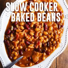 Slow cooker baked beans Baked Beans in the slow cooker is the way to go! Once you try these, you'll never eat them straight from the can again. Great for summer BBQs! Baked Beans Crock Pot, Easy Baked Beans, Slow Cooker Baked Beans, Baked Bean Recipes, Best Slow Cooker, Slow Cooker Recipes, Cooking Recipes, Healthy Recipes, Delicious Recipes