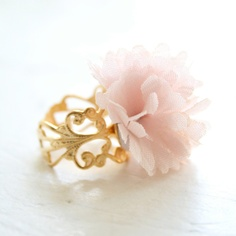 #pink #tulle #ring #flower