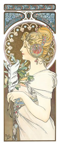 Alphonse Mucha – La Plume – The Feather – 1899 | Old Print Art