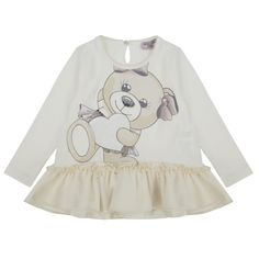 Monnalisa Girls Cream T-Shirt with Teddy Bear Print