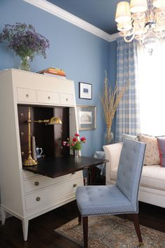 Pretty secretary desks in Home Office Traditional with Pop Ceiling Bedroom Design next to Blue Bedroom alongside Blue And Brown and Modern Office Interior Design Blue Rooms, Blue Walls, Blue Home Offices, Fold Down Desk, Blue Ceilings, Painted Ceilings, Dark Ceiling, Ceiling Color, Ideas