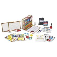 Melissa & Doug School Time! Classroom Play Set (000772085144) Open up an instant play setting! This double-sided play set features life-size play scenes built right into the box. Just open the side panels to reveal a student desk on one side and a teacher desk on the other, and lots of interactive surfaces to write on, wipe off, and fill with reusable stickers while playing school. Dozens of coordinating play props store right inside the sturdy box, including dry-erase tests, a library book…