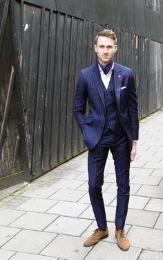 London Collections: Men Street Style - The Jigsaw Blog, Jon Holt from The Bespoke Gentleman wearing a cravat and pinstripe suit