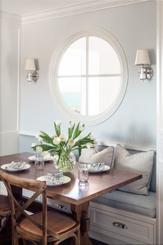 Love the simplicity of this room. Think we need a bunch built in for our small dinning room off the kitchen