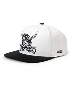 A black double swords and storm trooper pirate embroidery at the front of a white crown with a contrasting black bill.