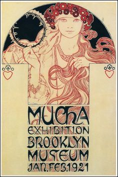 Art Nouveau- Mucha, hand drawn type, diagonal cross bars, embellished stroke endings, triangular characters, stylized hair, floral abstractions