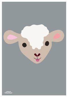 Childrens poster Lille Lam poster, 50x70 cm. Designed by Charlotte Søeborg Ohlsen, Littlelot Designstudio