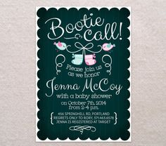 BOOTIE CALL BABY Shower Invitation /// Custom diy Printable Chalkboard Style