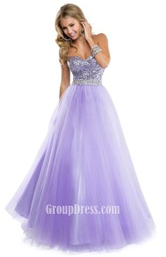 ball gown strapless tulle sequin sweetheart prom dress