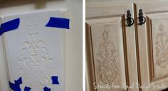 How to use a stencil to emboss on cabinet doors for a carved look. It's really quite easy!