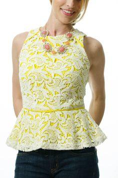 Greylin Yellow Lace Peplum