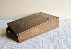 SOLD ~Wooden, Vintage Lap Desk ~  Handcrafted Portable Writing Desk with leather handle, brass hinges & corners