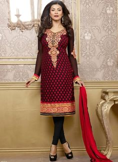 Red And Black Embroidery Patch Border Churidar Suit  http://www.angelnx.com/Salwar-Kameez