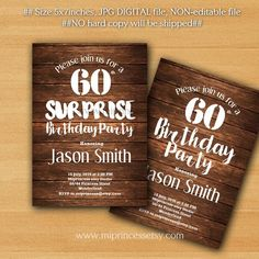 Surprise Birthday Invitation for any age, 30th 40th 50th 60th 70th 80th 90th birthday invitation , wood rustic -  card 867