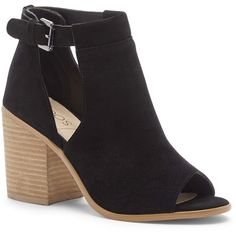 Sole Society Ferris Block Heel Sandal ($80) ❤ liked on Polyvore featuring shoes, sandals, black, ankle strap sandals, black shoes, cut out sandals, black ankle strap sandals and heeled sandals