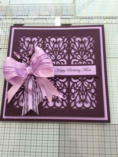 Birthday card using Sue Wilson dies, Aubergine & lilac.