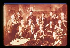 Description: This brass band portrait illustrates the importance of this early form of entertainment in the Roslyn area. The City of Roslyn had a band. Musicians often belonged to more than one band, and every hall had a dance floor.