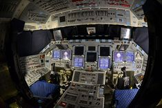 collectSPACE had the rare chance recently to tour space shuttle Atlantis to photograph its preparation for public display and capture its glass cockpit powered and lit for one of the last times. Space Shuttle Interior, Glass Cockpit, K Dick, Public Display, Design Language, Reference Images, Spacecraft, Atlantis, Air Force