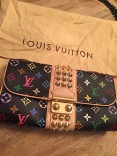 Auth LOUIS VUITTON Courtney Clutch Bag Monogram Black Spike Multicolor!!! - http://clothing.goshoppins.com/bags-handbags/auth-louis-vuitton-courtney-clutch-bag-monogram-black-spike-multicolor/