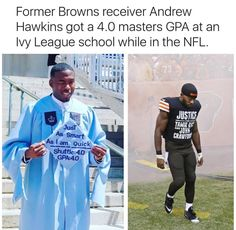Andrew Hawkins, former NFL player of Cleveland Browns receive GPA masters from ivy league college. Black History Facts, Black Pride, My Black Is Beautiful, African American History, Black Power, Black People, Black Girl Magic, Memes, In This World