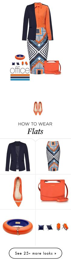 """""""Office outfit: Orange - Blue"""" by downtownblues on Polyvore featuring mode, ZALORA, Jil Sander, Kenneth Cole en Dsquared2"""