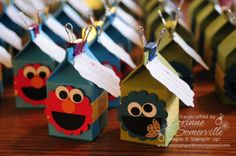 super cute, baby shower, birthday party elmo & cookie monster Stampin' Up milk carton treat favors