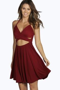 Evie Strappy Cross Front Skater Dress at boohoo.com