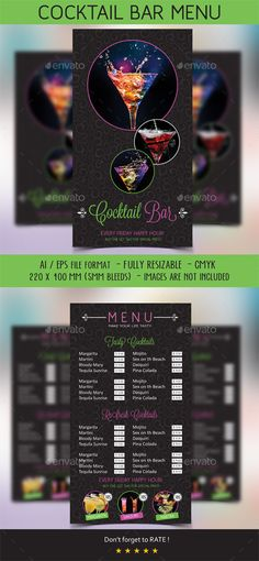 Cocktail  Menu - Food Menus Print Templates Download here : https://graphicriver.net/item/cocktail-menu/10258813?s_rank=925&ref=Al-fatih