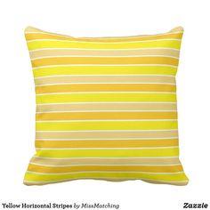 Bright Yellow Horizontal Stripes Throw Cushion