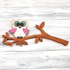 Pink Brown Wooden Owl Childrens Room Decor Kids Room Decoupaged Wood Decor Wall Art