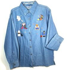 Womens Large Halloween Denim Jean Shirt Long Sleeve Embroidered Witch Ghost Cat #EndlessDesigns #ButtonDownShirt #Casual