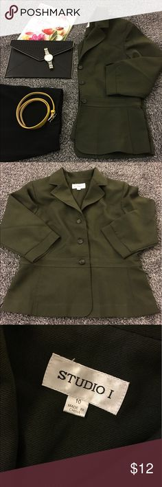 Olive green blazer/jacket - lightweight & comfy! Perfect addition to a dressy outfit! Comfortable while adding that extra layer of style. Smoke free and in great shape. See pics for details and condition. Bust is 19.5 inches flat. Hips are 18.5. Length is 23 inches. 3/4 length sleeves at 18 inches. Slits at the cuff for extra movement & detail. Has shoulder pads and brown toned buttons. Have questions? Feel free to ask! Offers and bundle are welcomed but please no models or trades! Thanks so…