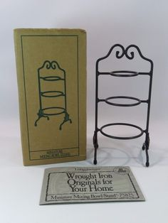 Longaberger Wrought Iron Tiered Stand for Miniature Pottery Mixing Bowls JH
