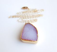 Druzy Necklace in Dahlia, Peony Purple