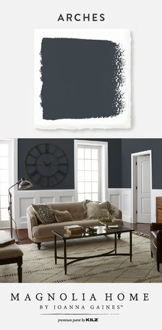 COLOR DESCRIPTION: Almost black with dark blue undertones. Joanna has hand selected colors for her Fixer Uppers in her Magnolia Home paint collection. Buy a sample online today! Magnolia Paint Colors, Magnolia Homes Paint, Dark Paint Colors, Bedroom Paint Colors, Interior Paint Colors, Neutral Paint, Arch Interior, Interior Design, White Baseboards