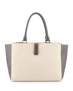 Colorblock Faux-Leather Tote Bag, Bone/Gray by Neiman Marcus at Neiman Marcus Last Call.