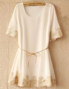 White Short Sleeve Lace Embroidery Belt Dress